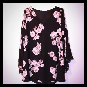 Astr floral mini dress with bell sleeves size S